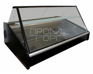 Настольная универсальная витрина с полкой прямое стекло