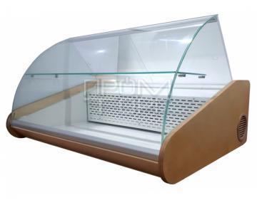 Настольная универсальная витрина с полкой гнутое стекло