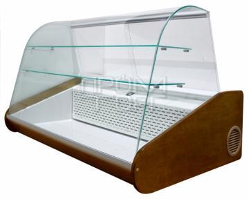 Кондитерская настольная витрина Люкс с гнутым стеклом и двумя охлаждаемыми полками купить в Чернигове