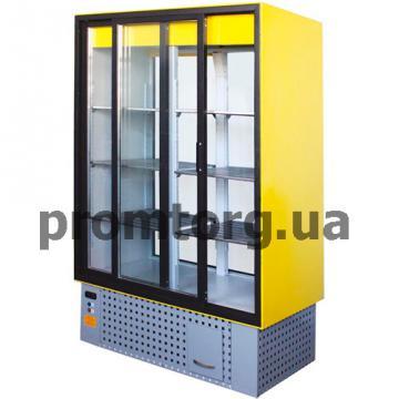Шкаф холодильный с раздвижными стеклянными дверьми и передней стенкой из стеклопакета