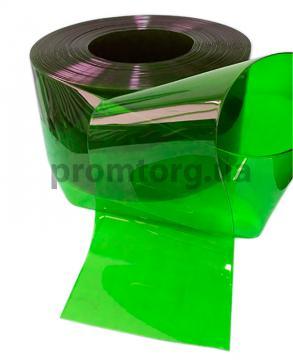 Цветная ПВХ штора зеленая прозрачная