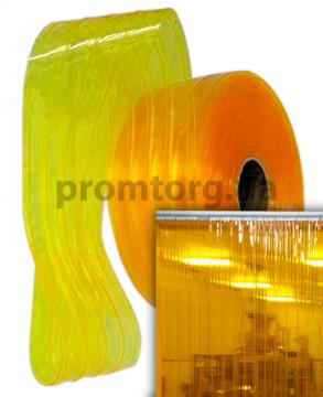 Ребристая желтая лента ПВХ для термозавесы полупрозрачная
