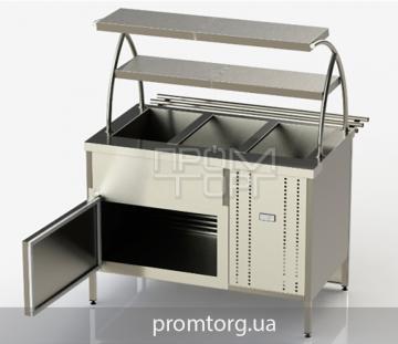 Холодильный прилавок линии самообслуживания с охлаждаемым боксом и двумя полками